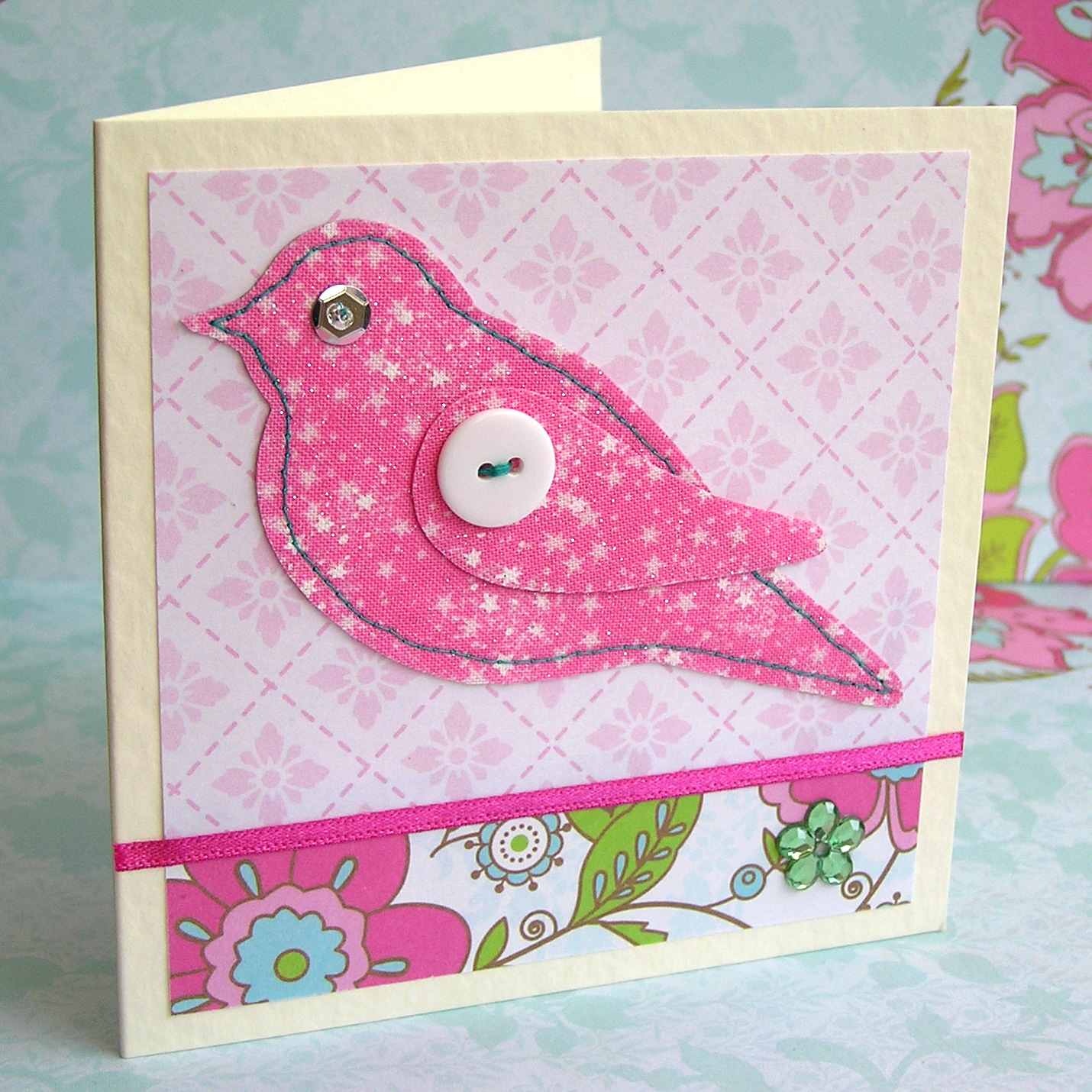 Hazel fisher creations fabric bird card kit tutorial for Fabric crafts to make