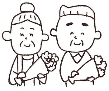 敬老の日のイラスト「花とおじいさん・おばあさん」 線画