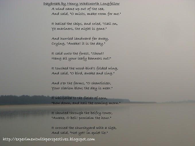 Poem Analysis,Subject Summarisation And Explanation : 'Daybreak' by Henry Wadsworth Longfellow