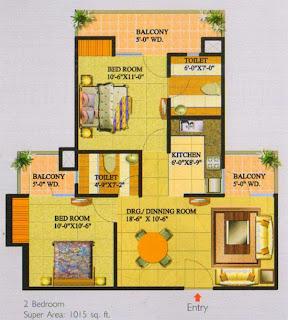 Livingston :: Floor Plans,Block G:-2 Bedroom Super Area - 1015 Sq Ft