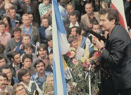 Lech Walesa speaking before crowds - Solidarnosc 1980