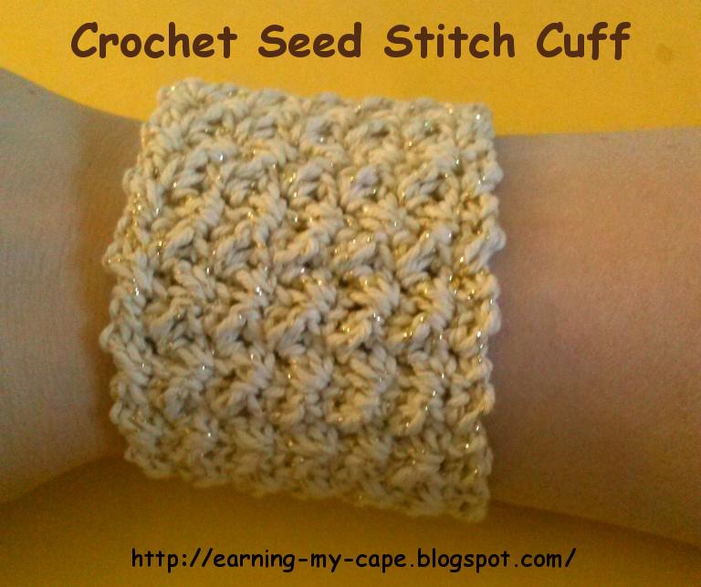 Earning my cape crochet seed stitch cuff free pattern