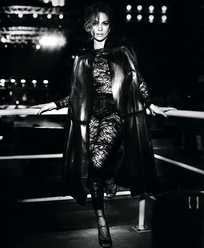 Jennifer Lopez wearing a see through outfit  black and white photo