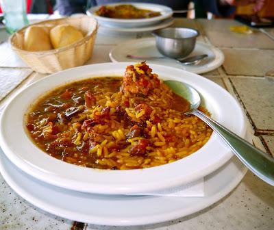 Menu del dia rice chicken and rabbit Bar Tapas Caleta de Fuste