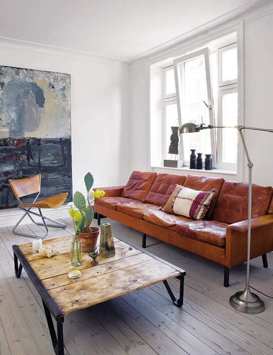 Cognac Leather Sofa Living Room