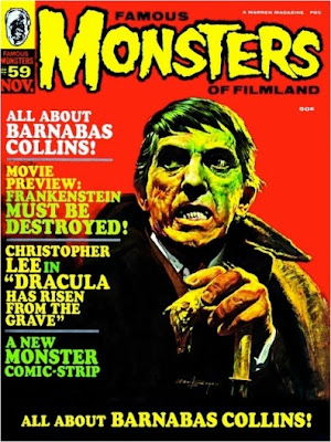 Cover of Famous Monsters of Filmland #59 featuring Jonathan Frid as Barnabas Collins
