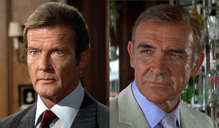 In der Blüte ihrer Jahre: Roger Moore in OCTOPUSSY und Sean Connery in SAF NIEMALS NIE (beide 1983). Quelle: MGM/Sony Blu-ray Screenshot