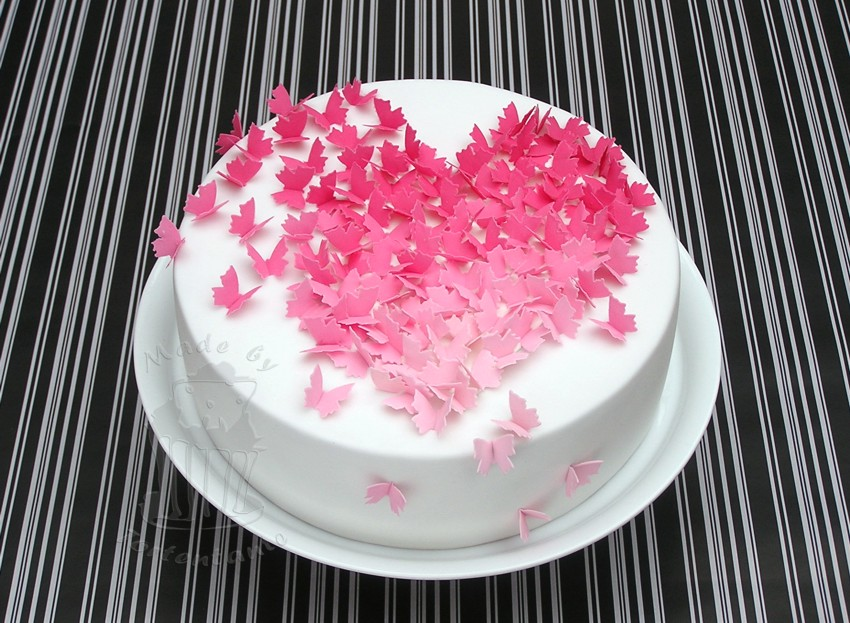 Valentine Cake With Butterfly Butterflies