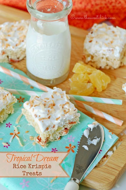 Tropical Creams Rice Krispie Treats by The Sweet Chick