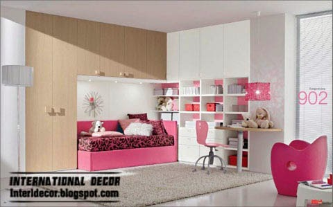 stylish kids bedroom furniture with pink bed and accessories