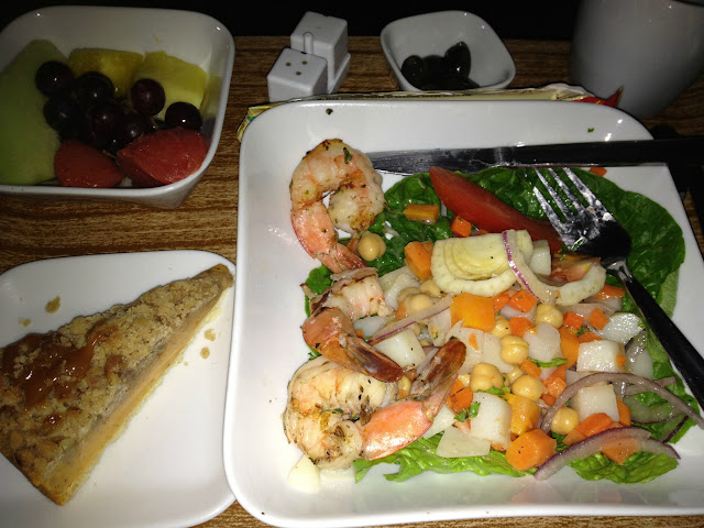 Business Class Lunch served one hour prior to landing on Delta Airlines Flight 54 one hour prior to landing in Lagos, Nigeria, West Africa