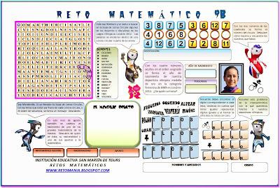 La matemática y el deporte, Retos matemáticos, Problemas matemáticos, Sopa de Letras Circular, Deportes, Descubre el número, Criptoaritmética, Criptosuma