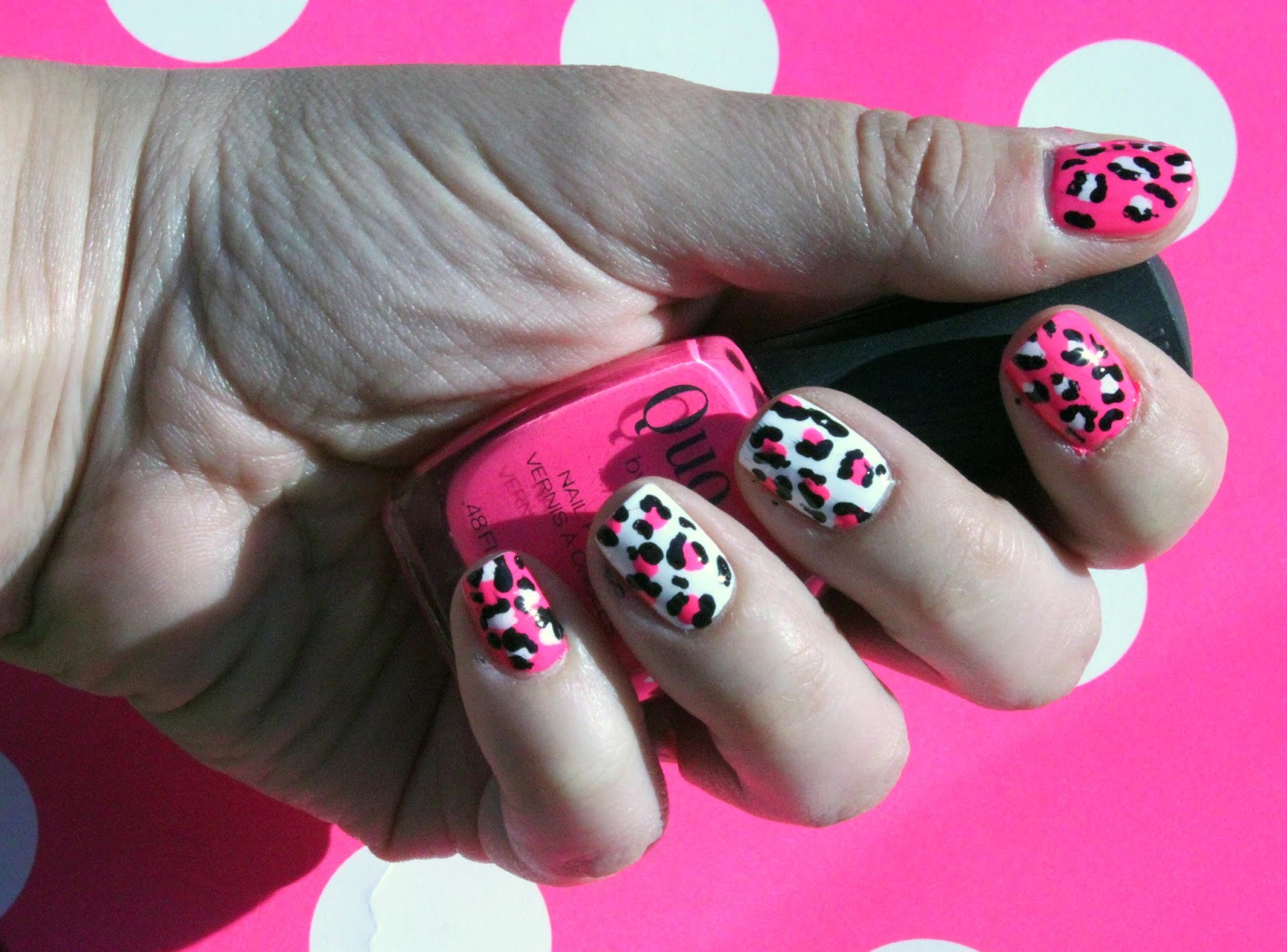 Neon pink and white leopard print nails beauty by birdy for the last six months i have been bundled up in dark colours and now i find myself gravitating to anything bright solutioingenieria Choice Image
