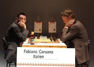 Echecs à Dortmund ronde 5 : Fabiano Caruana (2767) 1-0 Jan Gustafsson (2642) - Photo © Georgios Souleidis