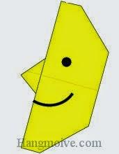 Bước 8: Vẽ mắt miệng để hoàn thành cách xếp ông mặt trăng bằng giấy origami đơn giản.