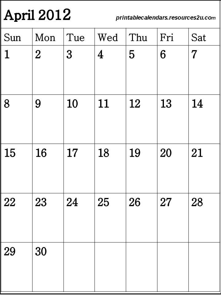 Monthly Printable Calendar April 2012
