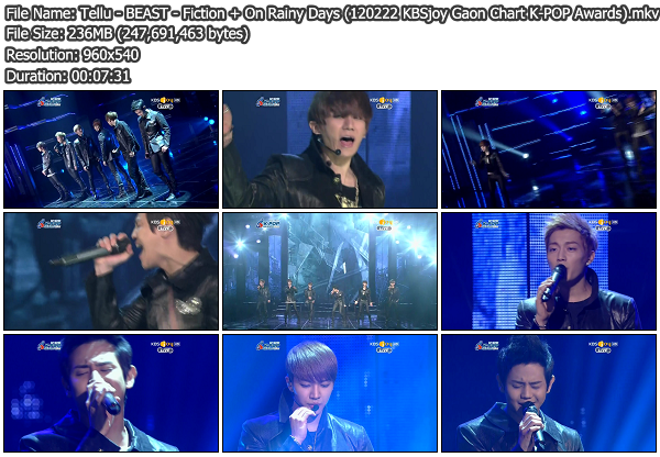 [Perf] BEAST   Fiction + On Rainy Days @ KBSjoy Gaon Chart K POP Awards 120222