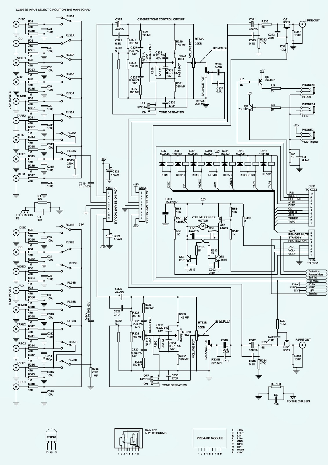 nad c-320bee - stereo amp - schematic
