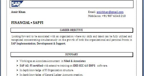 resume format for sap fico freshers resume format
