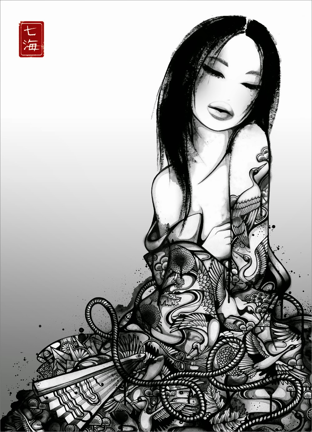 05-Geisha-Yume-Nanami-Cowdroy-Splashes-of-Ink-Drawings-www-designstack-co