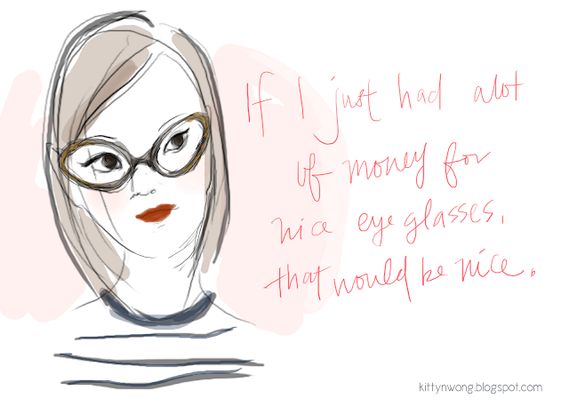 girl in gold cat eye frames wacom digital sketch