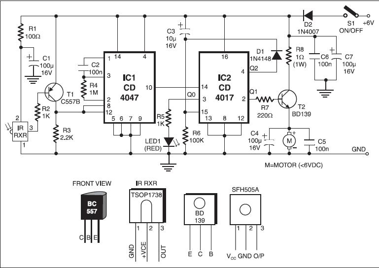 electrocircuits blogspot com  infrared toy car motor