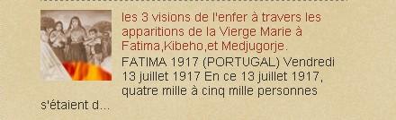 les 3 visions de l'enfer à travers les apparitions de la Vierge Marie à Fatima,Kibeho,et Medjugorje