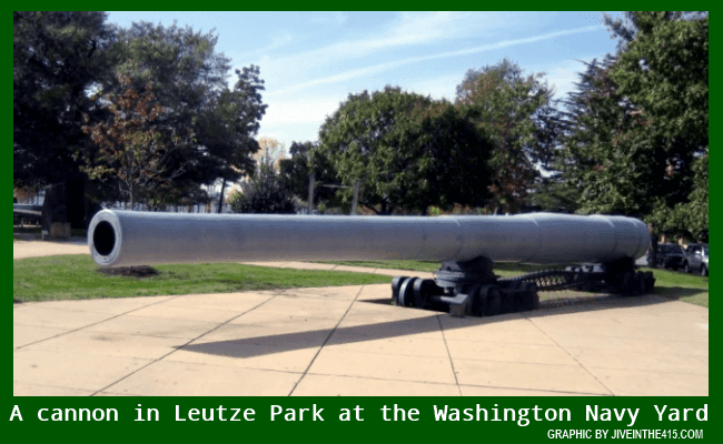One of the many cannons in Leutze Park at the Washington Navy Yard in Washington, DC.