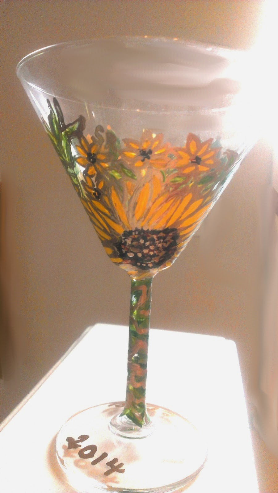 hand painted martini glass