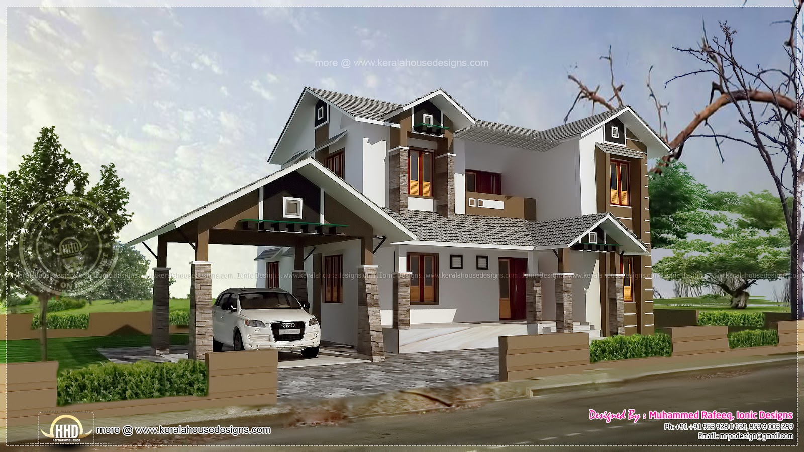 2109 Square Feet House With Separate Garage Home Kerala