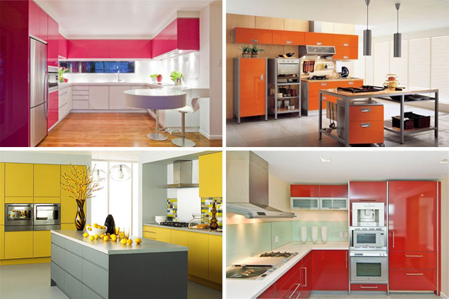 Colorful Kitchen Cabinets Entrancing Of RedOrange and Yellow Kitchen Picture