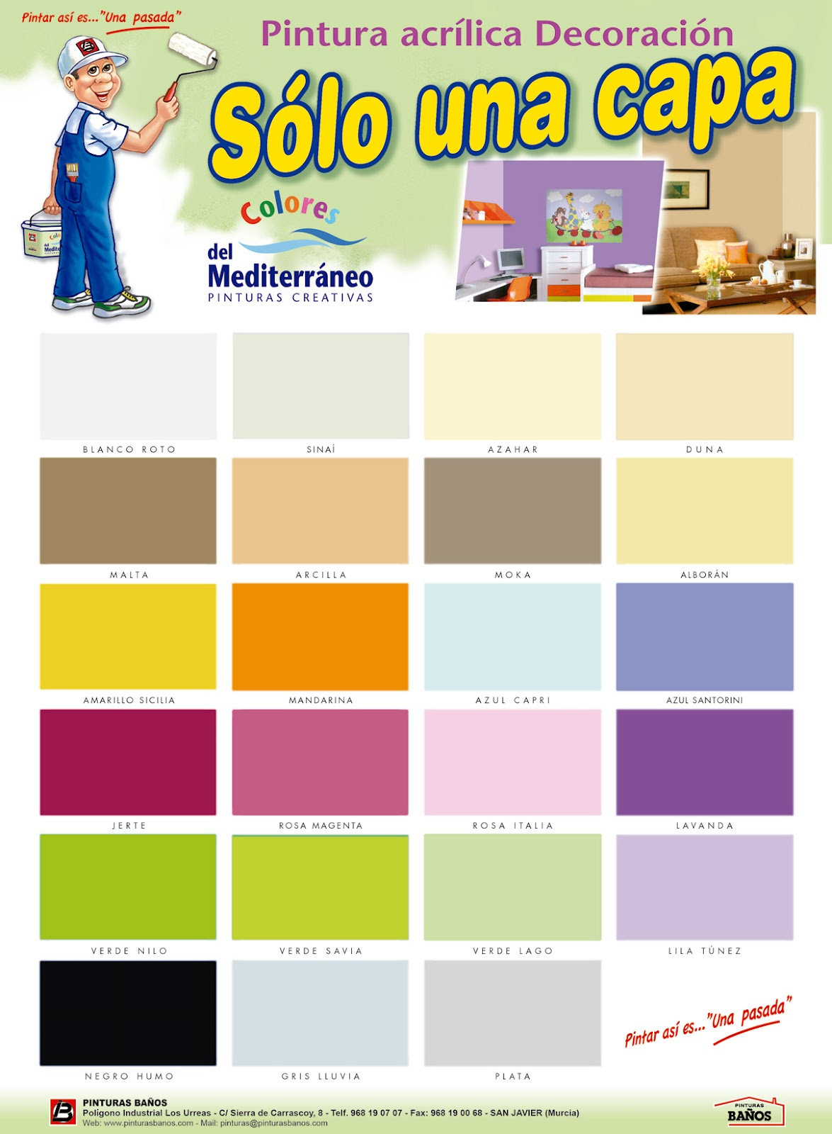 carta colores pintura pared