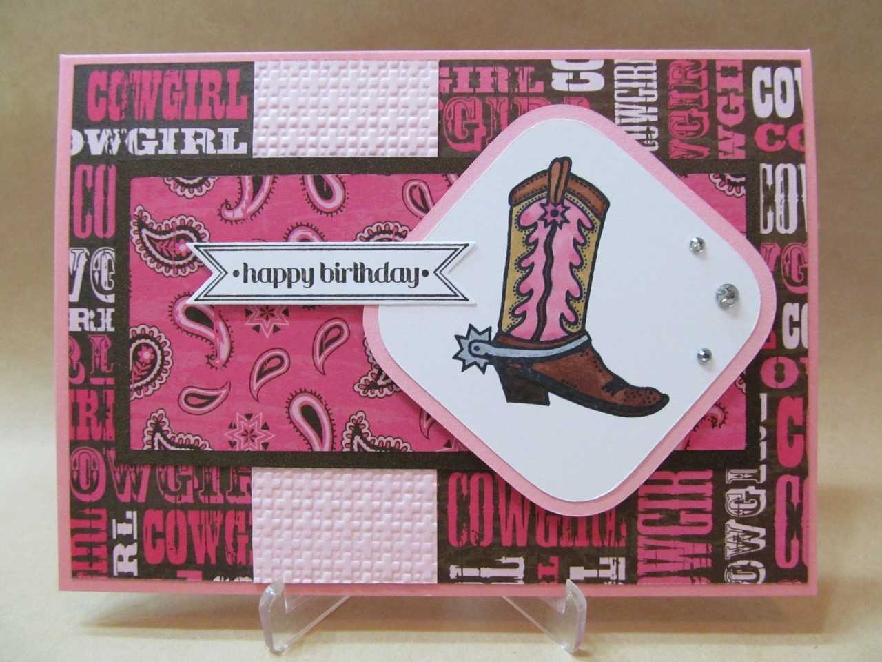 Savvy Handmade Cards Cowgirl Happy Birthday Card
