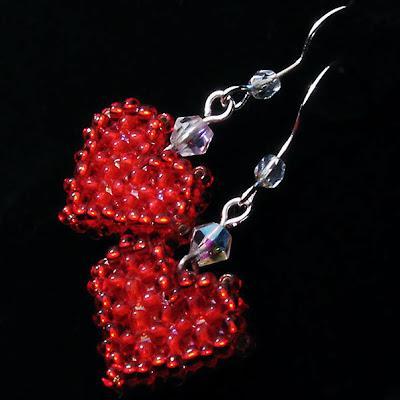 """Серьги  """"Червовая дама"""" Earrings """"Queen of hearts"""" Ro-Ksana.blogspot.com бисероплетение украшения из бисера с натуральными камнями хендмейд бижутерия подарки"""