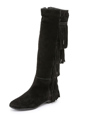 Schutz Black suede boots with fringe