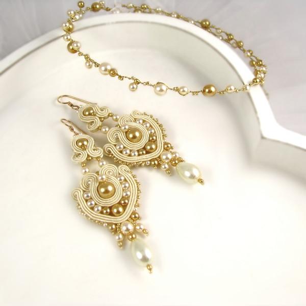 Perłowa biżuteria ślubna - kolczyki i tiara