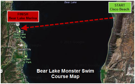 Bear lake monster swim race information the swim will start in the water at the beach just north of the bear lake marina and will finish at cisco beach marked by a large red inflatable arch freerunsca Gallery
