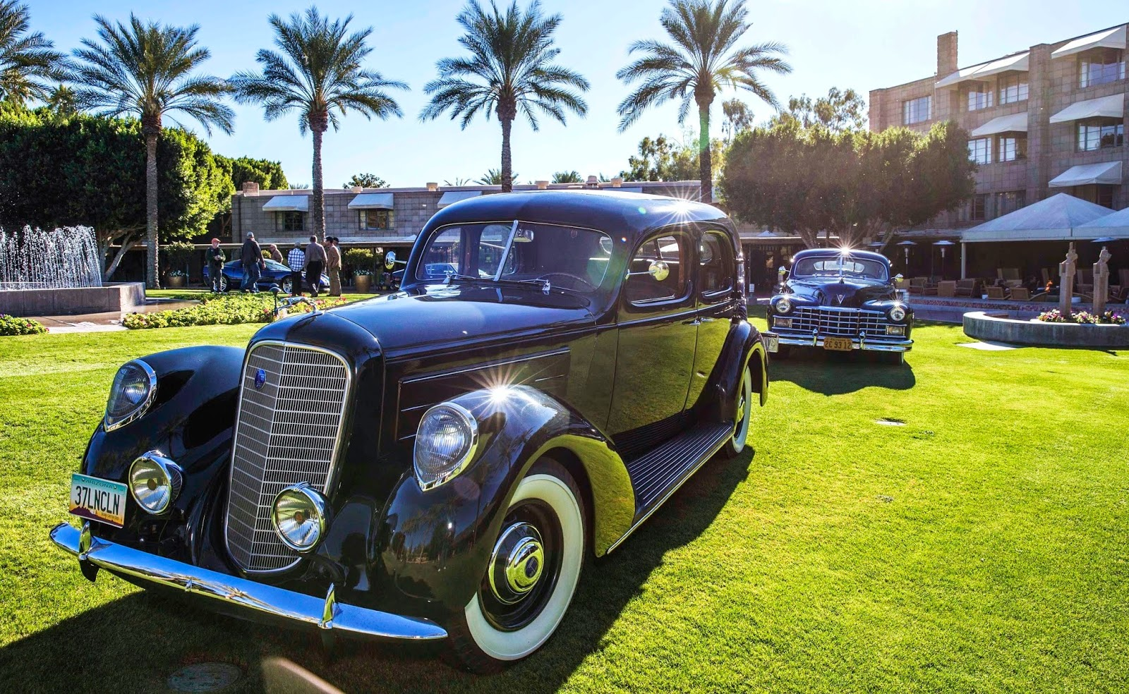 1937 Lincoln followed by 1947 Cadillac at the Biltmore during recent 'dry run' site testing. (Michael Tobian photo)