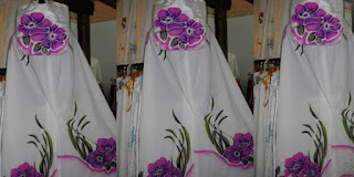 mukena air brush motif bunga cantik