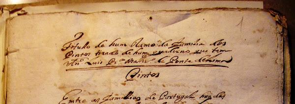 Manuscrito com a genealogia da família Pinto
