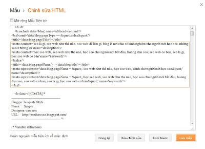 the meta cho blogspot