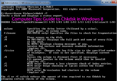 Computer Tips: Guide to Chkdsk in Windows 8