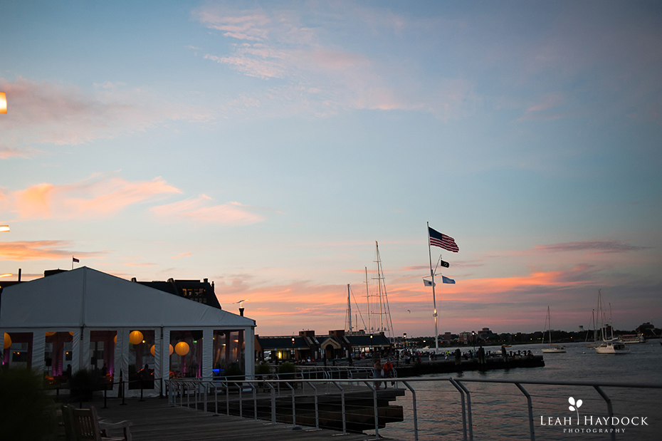 Sun setting over the tent at New England Aquarium Wedding