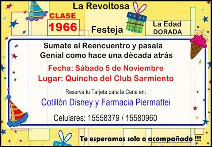 ESPACIO PUBLICITARIO: REENCUENTRO CLASE 1966