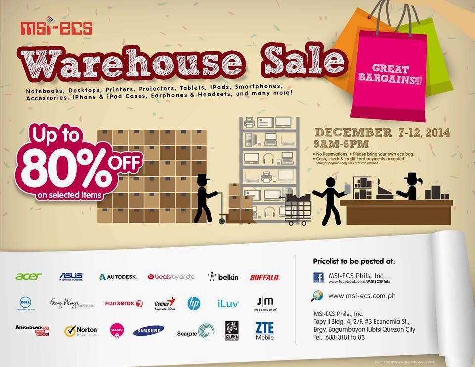Avail up to 80% Off on MSI-ECS Warehouse Sale on December 7-12, 2014