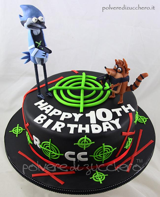 torta decorata cupcakes pasta di zucchero laser tag ricky e mordecai tridimensionali