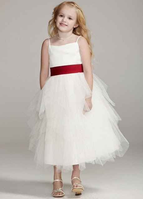 Flower Girl Dresses - David's Bridal Flower Girl Tiered Tea-Length Satin Dress