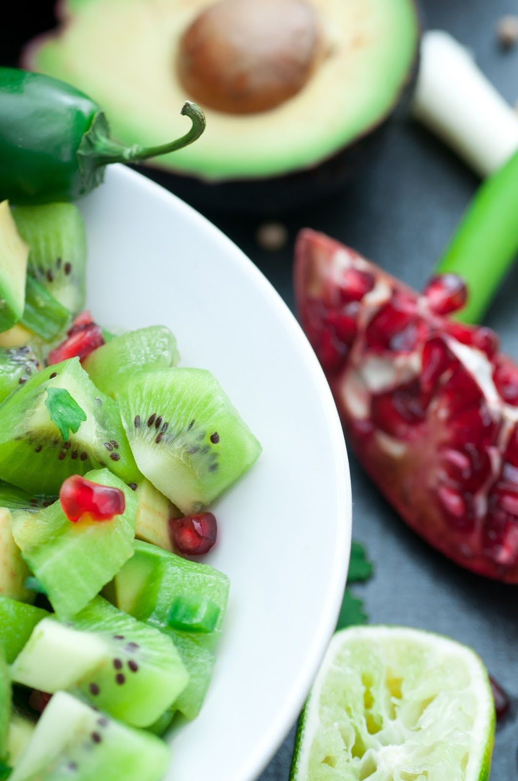 Kiwi Salsa with Green Onions and Pomegranate