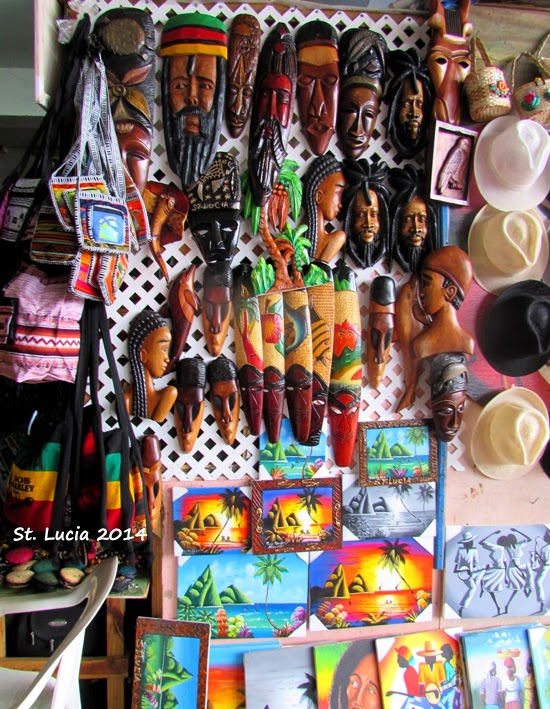 Display of crafts at Castries market