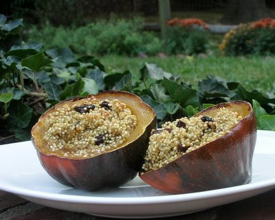 Acorn Squash with Quinoa & Cherries ♥ KitchenParade.com, perfect for Meatless Monday in fall. Vegan. Rave reviews!